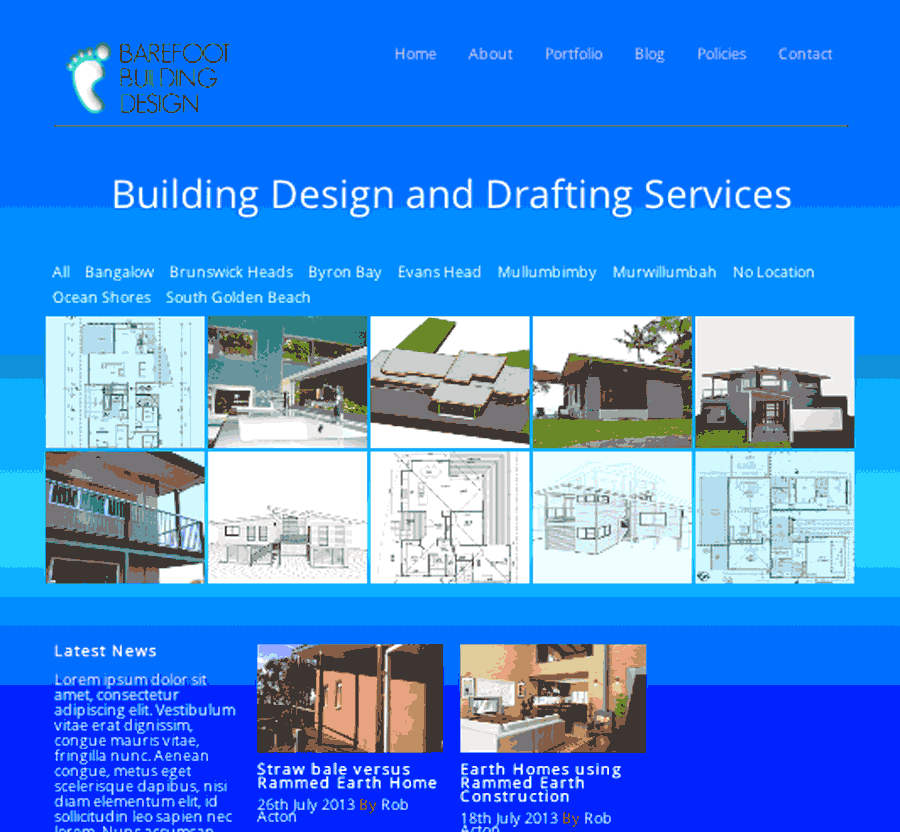 Wordpressit website portfolio Barefoot building Design