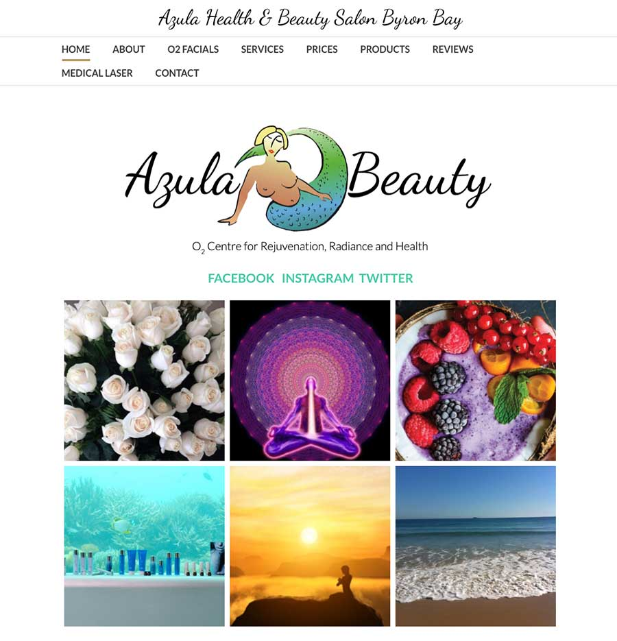 Azula Beauty Salon Byron Bay Web development Graphic Design Loretta Faulkner Wordpressit