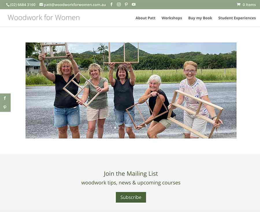 Woodwork for Women Website development, online booking system and ecommerce shop by Wordpressit Web Development Northern Rivers.